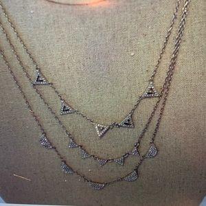 Stella & Dot Pave Chevron Necklace Silver